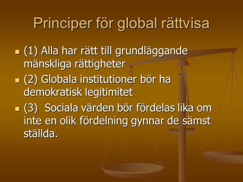Principer för global rättvisa  (1) Alla har rätt till grundläggande mänskliga rättigheter  (2) Globala institutioner bör ha demokratisk legitimitet