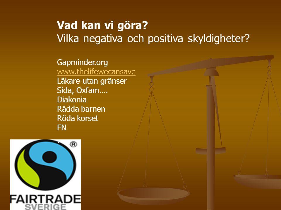 Vad kan vi göra? Vilka negativa och positiva skyldigheter? Gapminder.org www.thelifewecansave Läkare utan gränser Sida, Oxfam…. Diakonia Rädda barnen