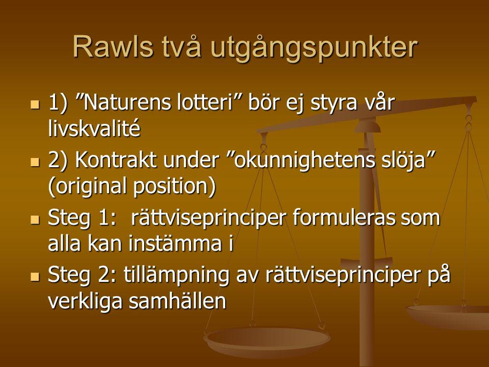 Rawls principer  Lika och omfattande politiska fri- och rättigheter för alla  Lika fördelning av social värden om inte en olik fördelning gynnar de sämst ställda