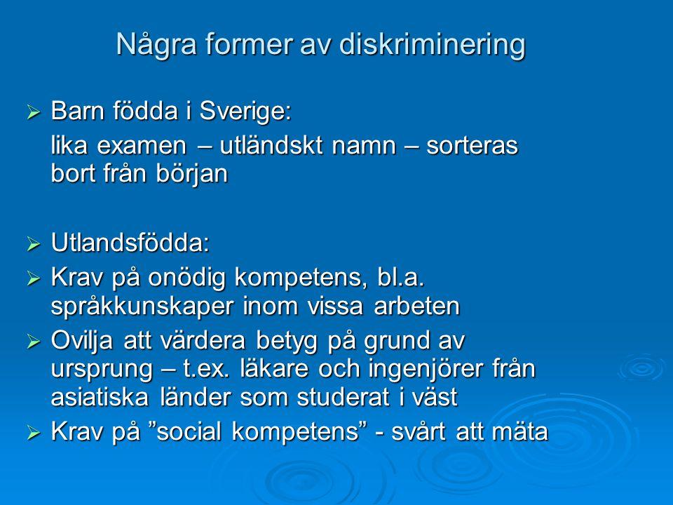 Några former av diskriminering  Barn födda i Sverige: lika examen – utländskt namn – sorteras bort från början  Utlandsfödda:  Krav på onödig kompe