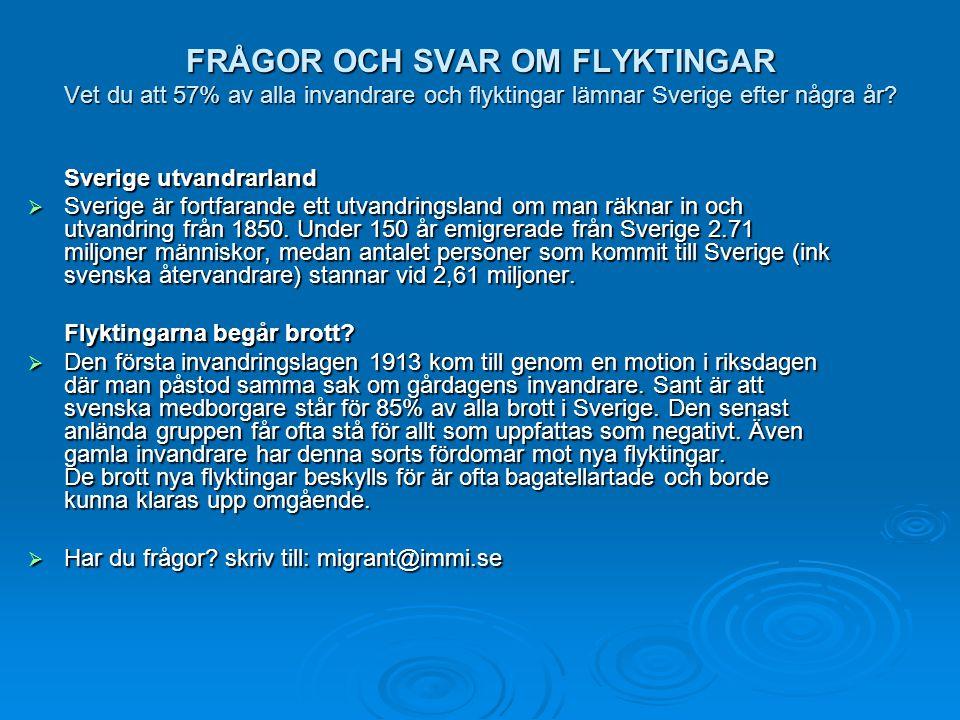 FRÅGOR OCH SVAR OM FLYKTINGAR Vet du att 57% av alla invandrare och flyktingar lämnar Sverige efter några år? Sverige utvandrarland  Sverige är fortf