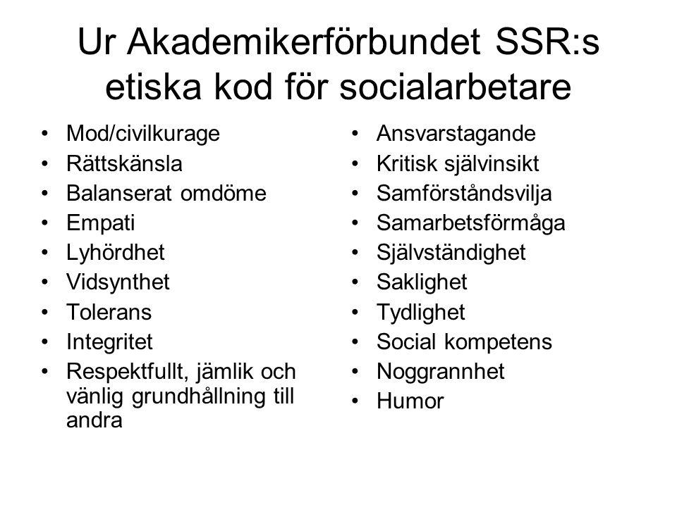 Ur Akademikerförbundet SSR:s etiska kod för socialarbetare •Mod/civilkurage •Rättskänsla •Balanserat omdöme •Empati •Lyhördhet •Vidsynthet •Tolerans •