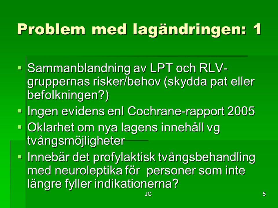 JC5 Problem med lagändringen: 1  Sammanblandning av LPT och RLV- gruppernas risker/behov (skydda pat eller befolkningen?)  Ingen evidens enl Cochran