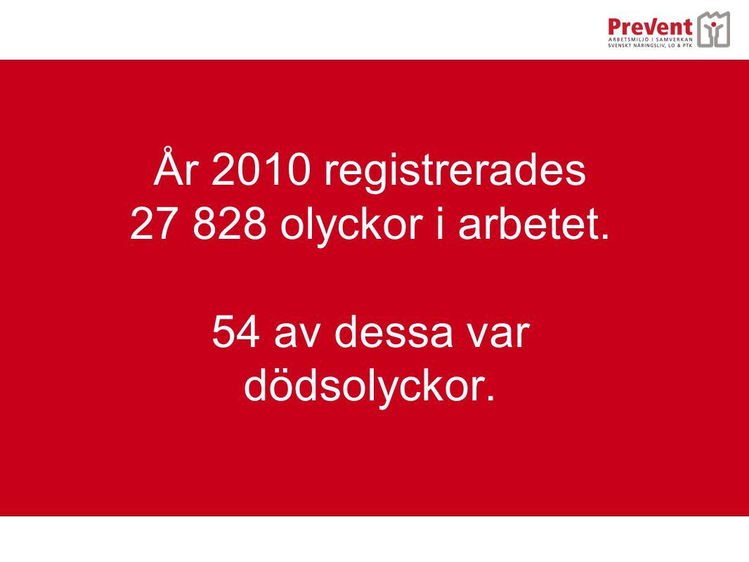 År 2010 registrerades 27 828 olyckor i arbetet. 54 av dessa var dödsolyckor.