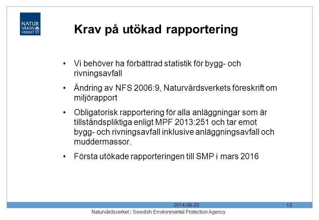 Krav på utökad rapportering •Vi behöver ha förbättrad statistik för bygg- och rivningsavfall •Ändring av NFS 2006:9, Naturvårdsverkets föreskrift om miljörapport •Obligatorisk rapportering för alla anläggningar som är tillståndspliktiga enligt MPF 2013:251 och tar emot bygg- och rivningsavfall inklusive anläggningsavfall och muddermassor.