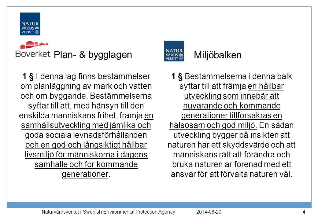 Plan- & bygglagen Miljöbalken 1 § Bestämmelserna i denna balk syftar till att främja en hållbar utveckling som innebär att nuvarande och kommande generationer tillförsäkras en hälsosam och god miljö.