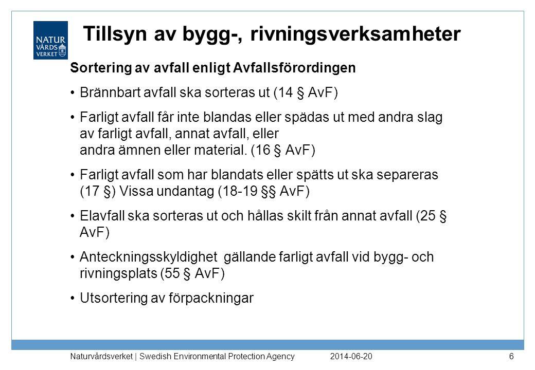 Tillsyn av bygg-, rivningsverksamheter 2014-06-20 Naturvårdsverket | Swedish Environmental Protection Agency 6 Sortering av avfall enligt Avfallsföror