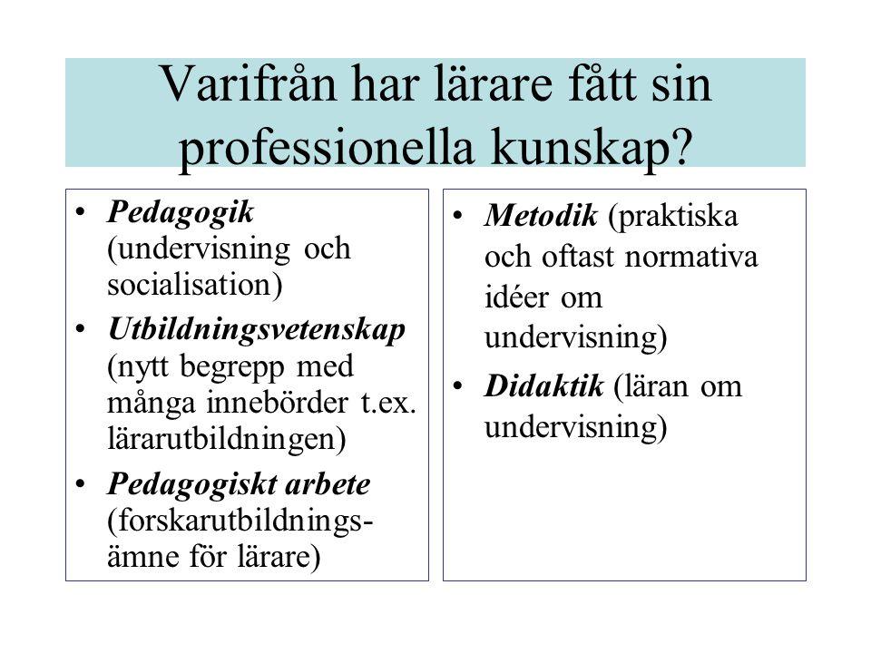 Varifrån har lärare fått sin professionella kunskap? •Pedagogik (undervisning och socialisation) •Utbildningsvetenskap (nytt begrepp med många innebör