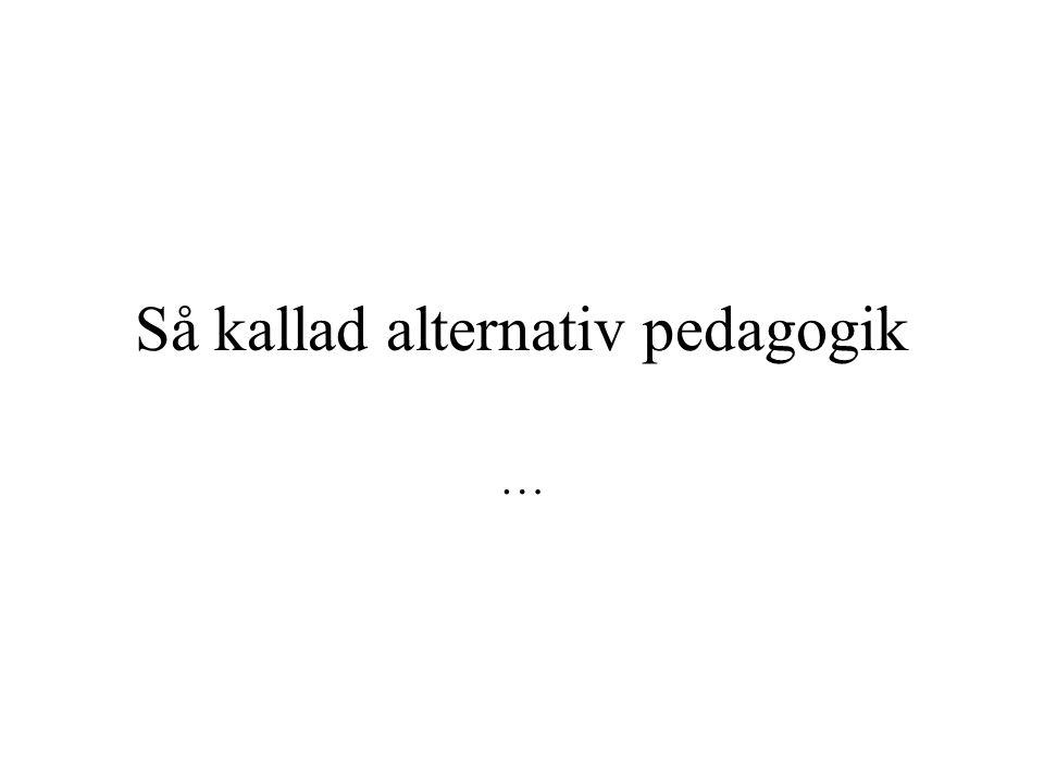 Så kallad alternativ pedagogik …