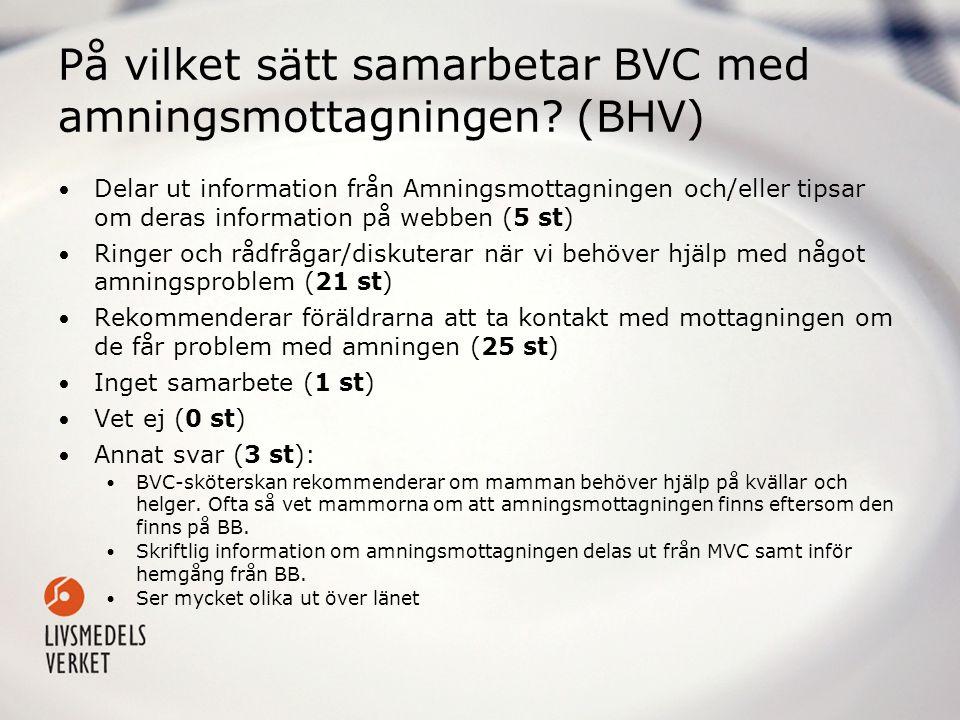 På vilket sätt samarbetar BVC med amningsmottagningen? (BHV) • Delar ut information från Amningsmottagningen och/eller tipsar om deras information på