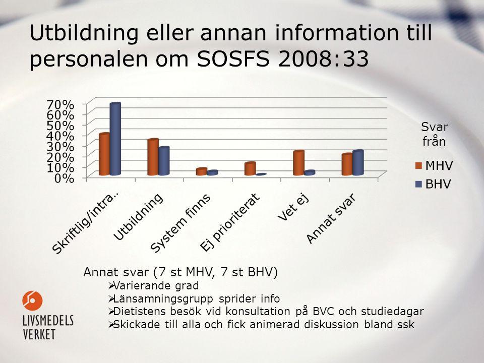 Utbildning eller annan information till personalen om SOSFS 2008:33 Annat svar (7 st MHV, 7 st BHV)  Varierande grad  Länsamningsgrupp sprider info
