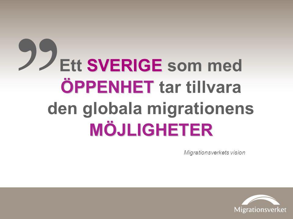 ,, SVERIGE ÖPPENHET Ett SVERIGE som med ÖPPENHET tar tillvara MÖJLIGHETER den globala migrationens MÖJLIGHETER Migrationsverkets vision