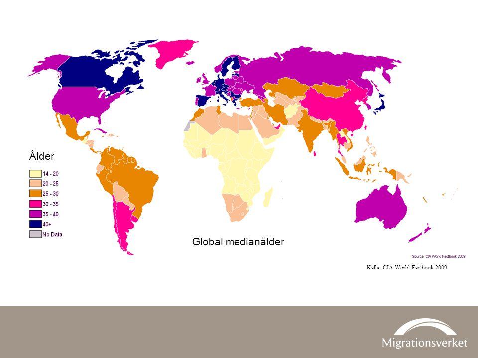Ålder Global medianålder Källa: CIA World Factbook 2009