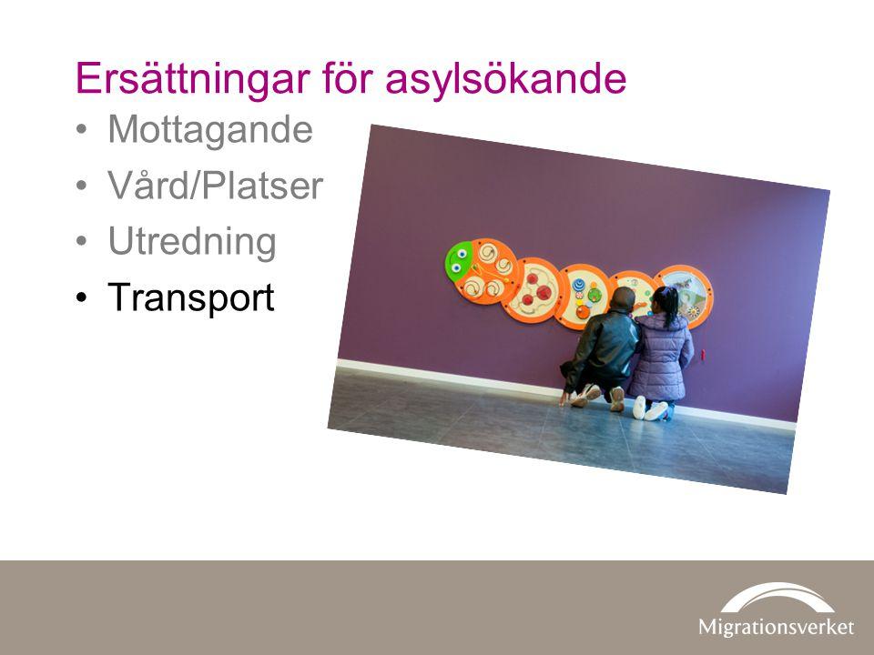 •Mottagande •Vård/Platser •Utredning •Transport Ersättningar för asylsökande