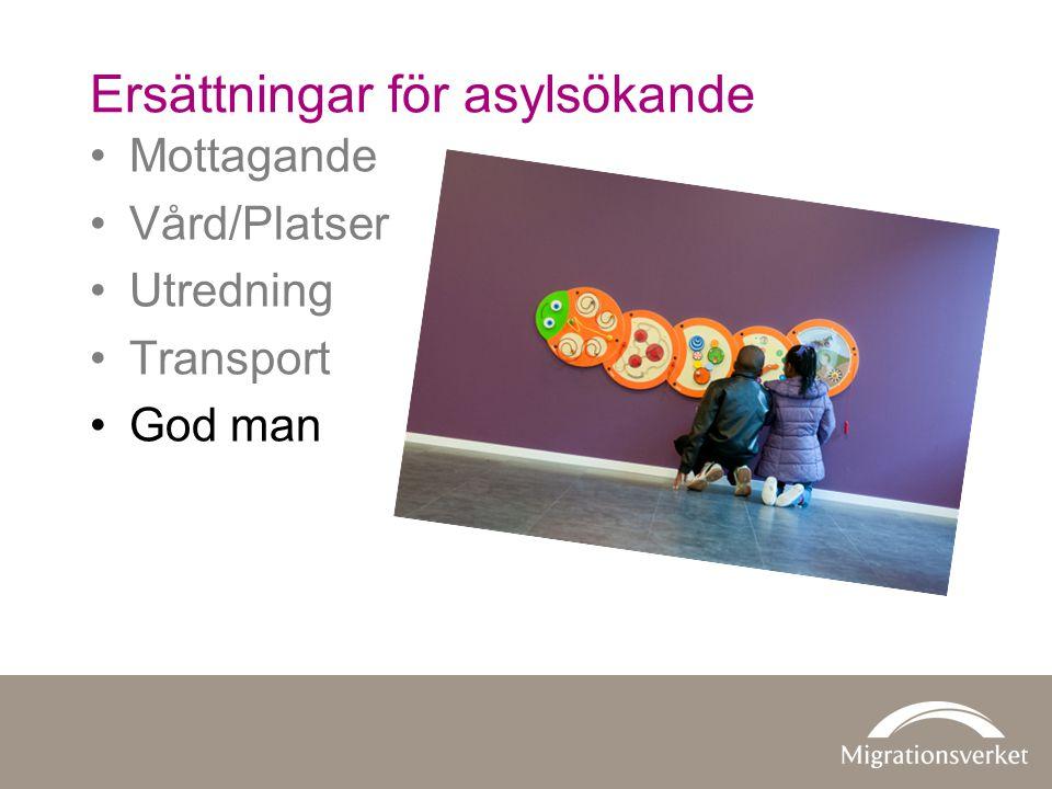 •Mottagande •Vård/Platser •Utredning •Transport •God man Ersättningar för asylsökande