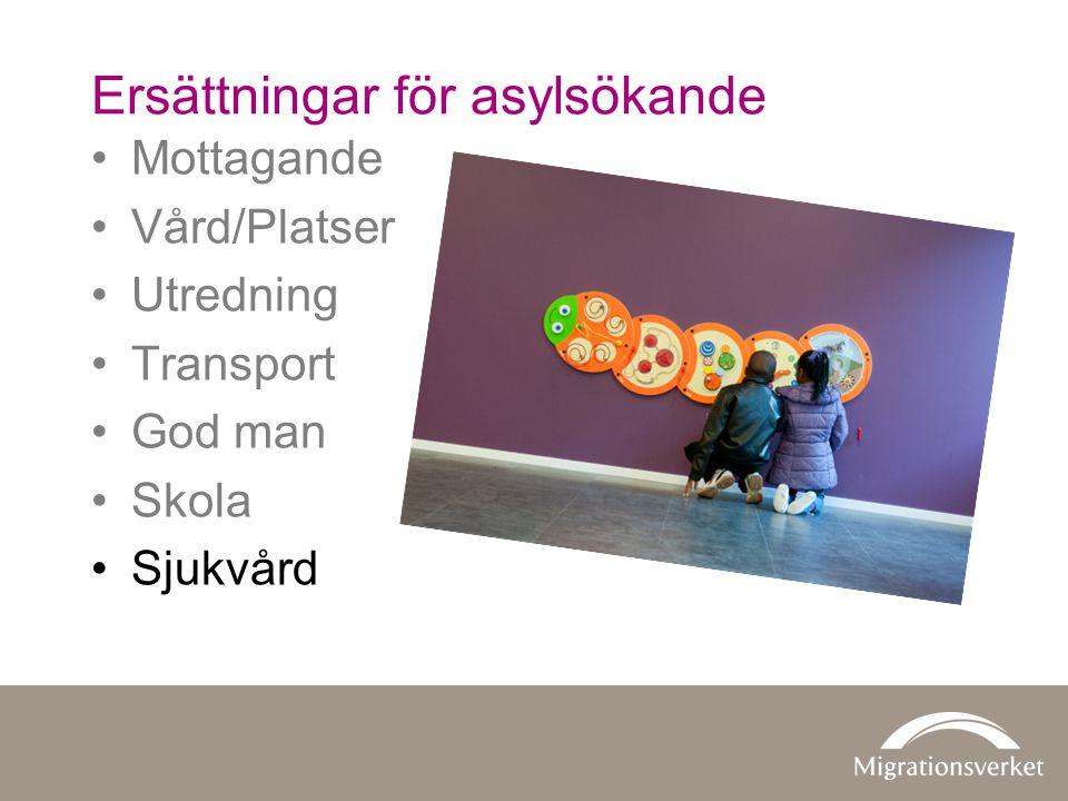 •Mottagande •Vård/Platser •Utredning •Transport •God man •Skola •Sjukvård Ersättningar för asylsökande
