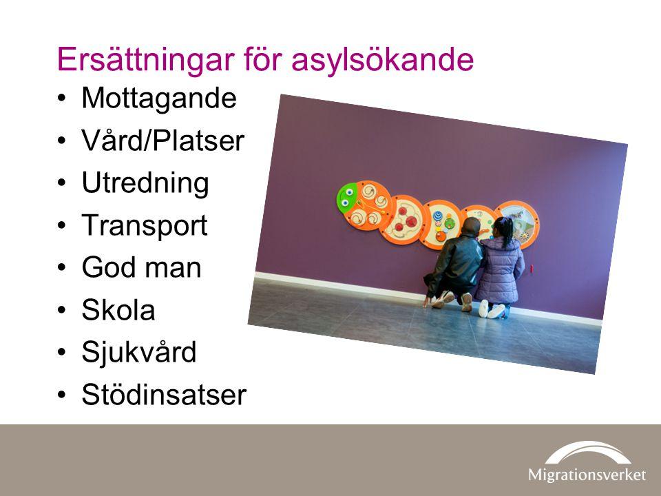 •Mottagande •Vård/Platser •Utredning •Transport •God man •Skola •Sjukvård •Stödinsatser Ersättningar för asylsökande