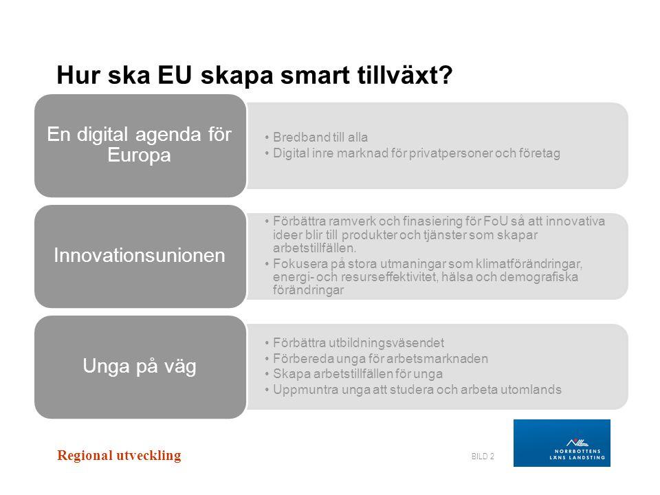 Regional utveckling BILD 3 •Öka användningen av förnyelsebar energi •Minska CO2-utsläpp •Uppmuntra energieffektivitet •Modernisera transportsektorn •Säkra energiförsörjningen Ett resurseffektivt Europa •Förbättra förutsättningarna för företag och entreprenörer •Uppmuntra till en konkurrenskraftig industri Industriell policy för globaliseringen Hur ska EU skapa hållbar tillväxt?