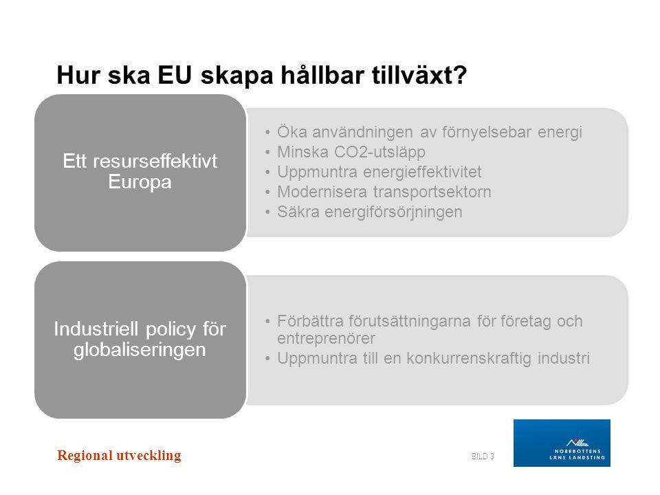 Regional utveckling BILD 3 •Öka användningen av förnyelsebar energi •Minska CO2-utsläpp •Uppmuntra energieffektivitet •Modernisera transportsektorn •S