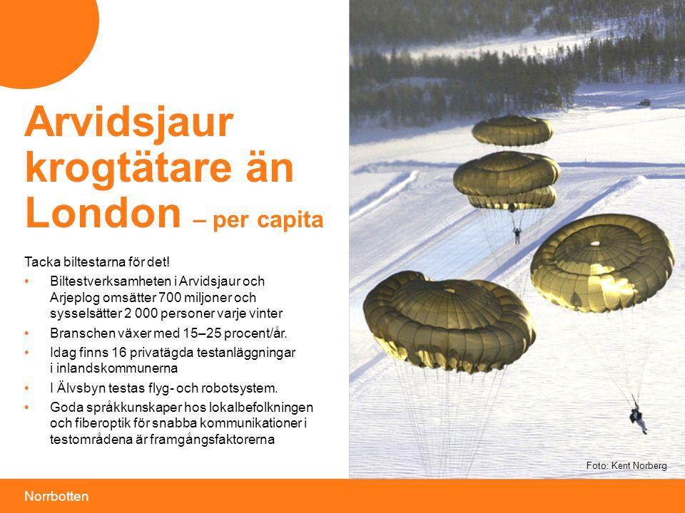 Norrbotten Foto: Kent Norberg Tacka biltestarna för det! •Biltestverksamheten i Arvidsjaur och Arjeplog omsätter 700 miljoner och sysselsätter 2 000 p