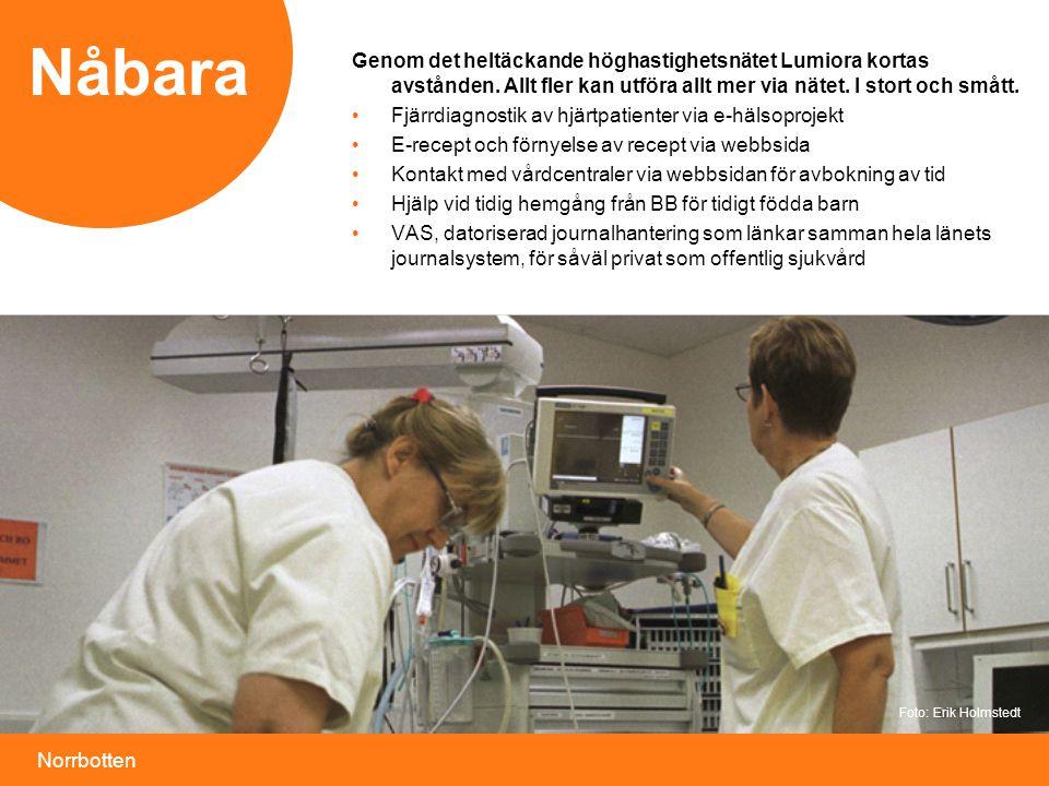 Norrbotten Nåbara Genom det heltäckande höghastighetsnätet Lumiora kortas avstånden. Allt fler kan utföra allt mer via nätet. I stort och smått. • Fjä