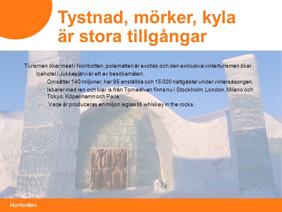Norrbotten Tystnad, mörker, kyla är stora tillgångar Turismen ökar mest i Norrbotten, polarnatten är exotisk och den exklusiva vinterturismen ökar.