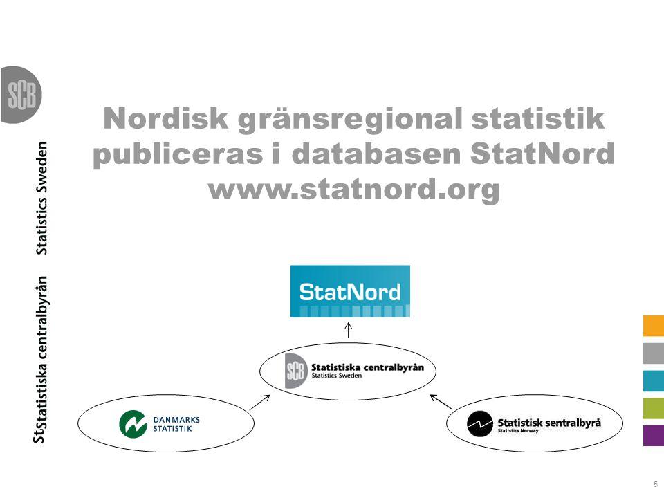 5 Nordisk gränsregional statistik publiceras i databasen StatNord www.statnord.org