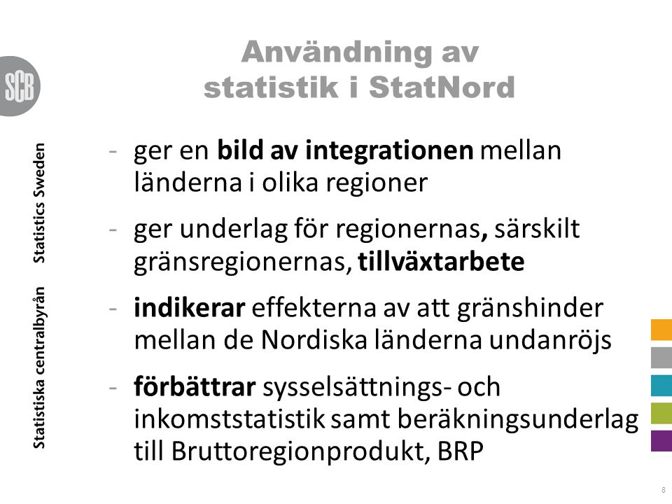 8 -ger en bild av integrationen mellan länderna i olika regioner -ger underlag för regionernas, särskilt gränsregionernas, tillväxtarbete -indikerar e