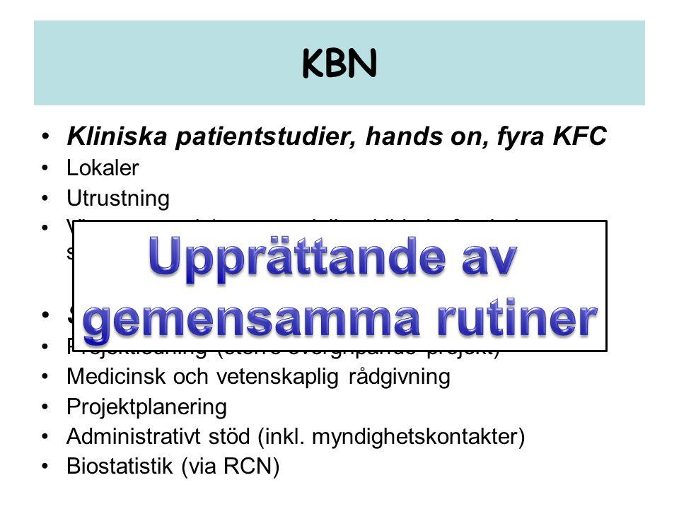 KBN •Kliniska patientstudier, hands on, fyra KFC •Lokaler •Utrustning •Viss personal (t.ex. speciellt utbildade forsknings- sköterskor för viss utrust