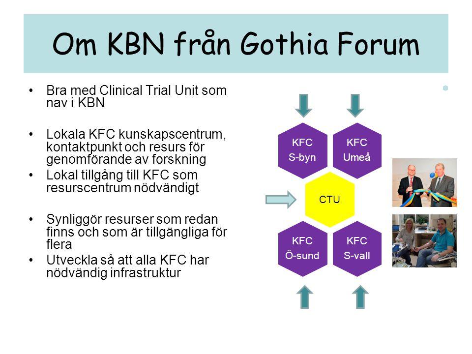 Om KBN från Gothia Forum •Bra med Clinical Trial Unit som nav i KBN •Lokala KFC kunskapscentrum, kontaktpunkt och resurs för genomförande av forskning
