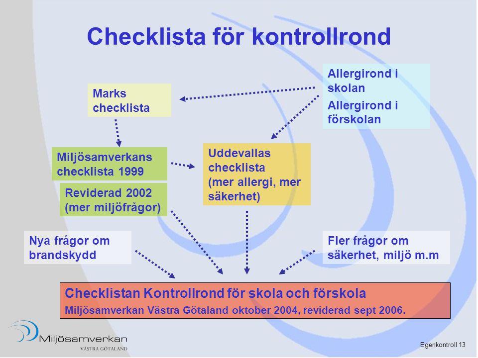 Egenkontroll 13 Checklista för kontrollrond Marks checklista Miljösamverkans checklista 1999 Reviderad 2002 (mer miljöfrågor) Uddevallas checklista (m