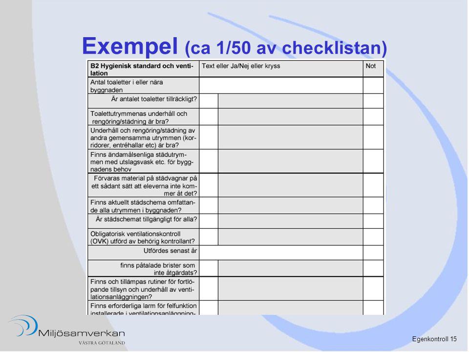 Egenkontroll 15 Exempel (ca 1/50 av checklistan)