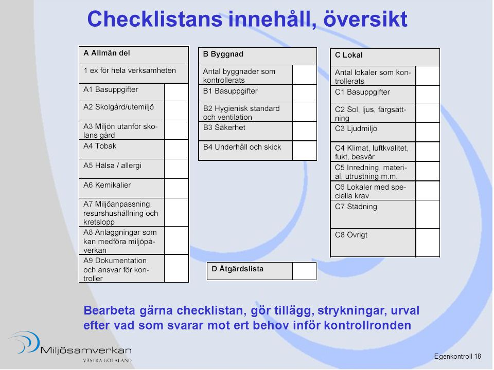 Egenkontroll 18 Checklistans innehåll, översikt Bearbeta gärna checklistan, gör tillägg, strykningar, urval efter vad som svarar mot ert behov inför k