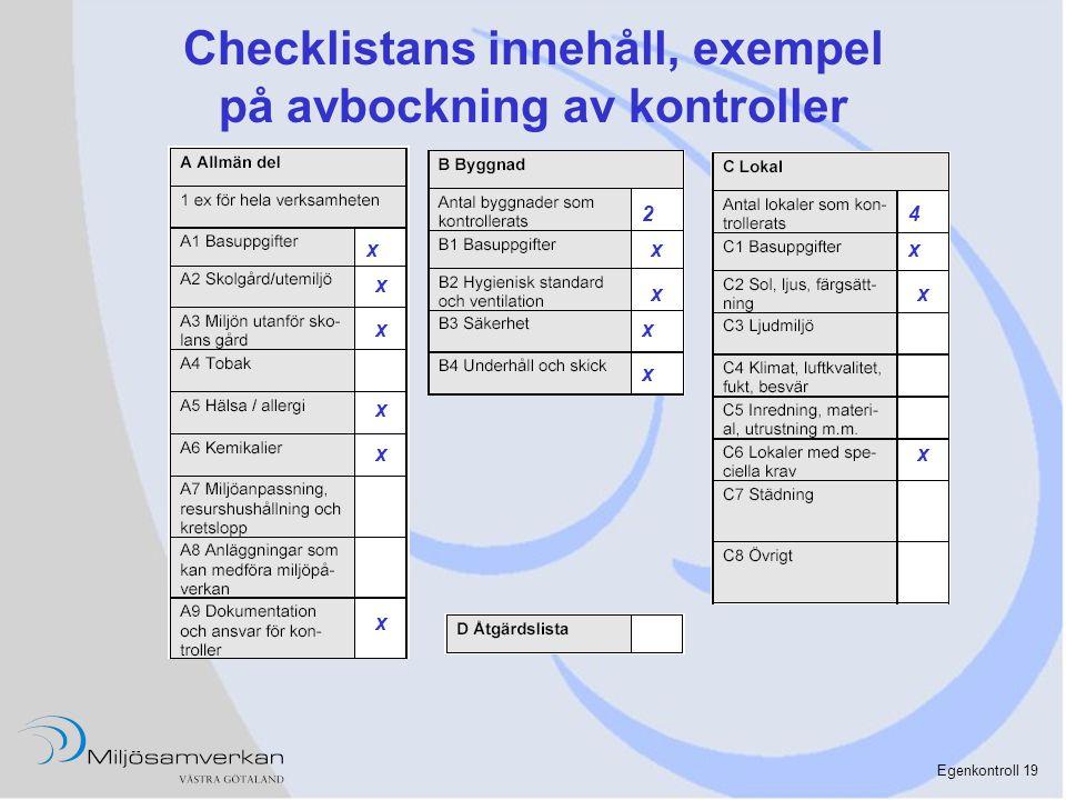 Egenkontroll 19 Checklistans innehåll, exempel på avbockning av kontroller x x x x x x x x 24 x x x x x