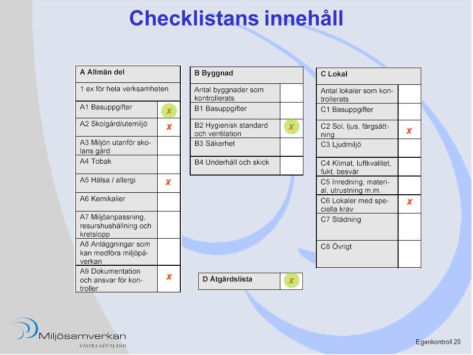 Egenkontroll 20 Checklistans innehåll x x x x x x x x