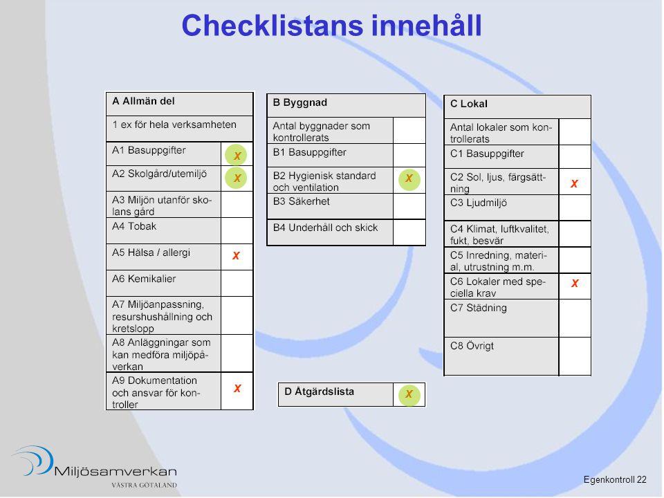 Egenkontroll 22 Checklistans innehåll x x x x x x x x