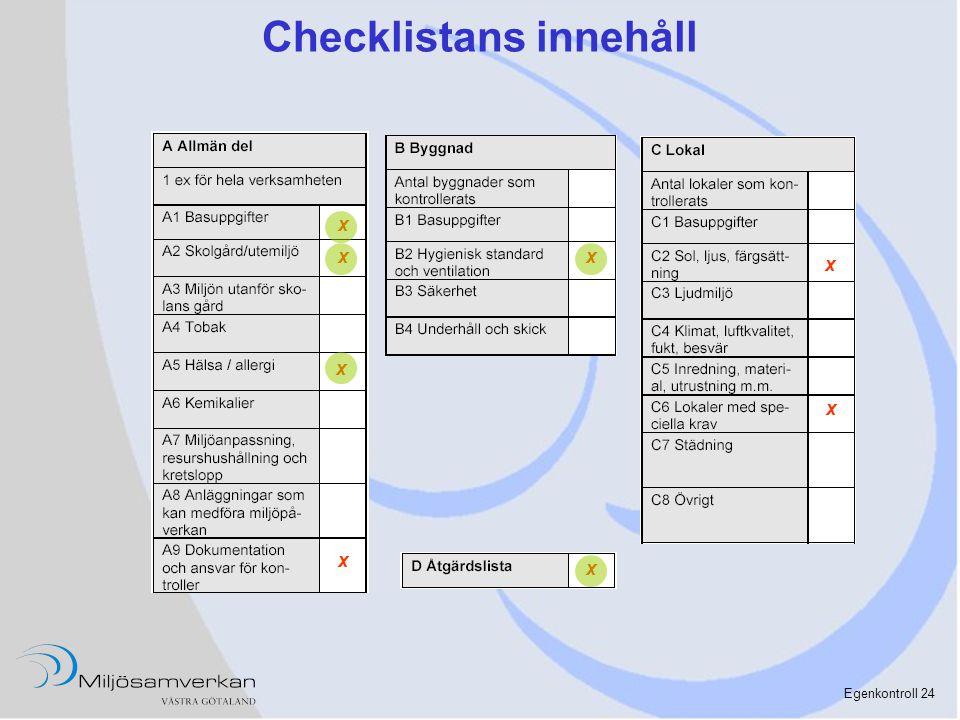 Egenkontroll 24 Checklistans innehåll x x x x x x x x