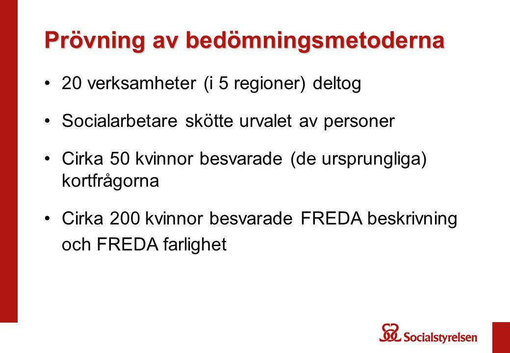 Sammantaget om prövningarna av FREDA •FREDA-kortfrågor är reviderade och har inte prövats i nuvarande form •FREDA-beskrivning har god vetenskaplig kvalitet och synliggör olika grader av och olika slags våld •FREDA-farlighet har god vetenskaplig kvalitet enligt internationella studier och korrelerar på ett logiskt sätt med FREDA beskrivningarna vilket indikerar god validitet i ett svenskt sammanhang
