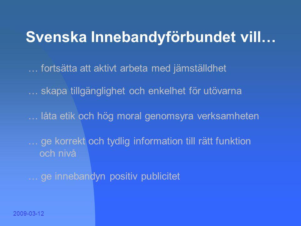 2009-03-12 Svenska Innebandyförbundet vill… … skapa en stämning i vår idrott där alla känner ansvar och delaktighet i riktlinjer och mål … göra inneba