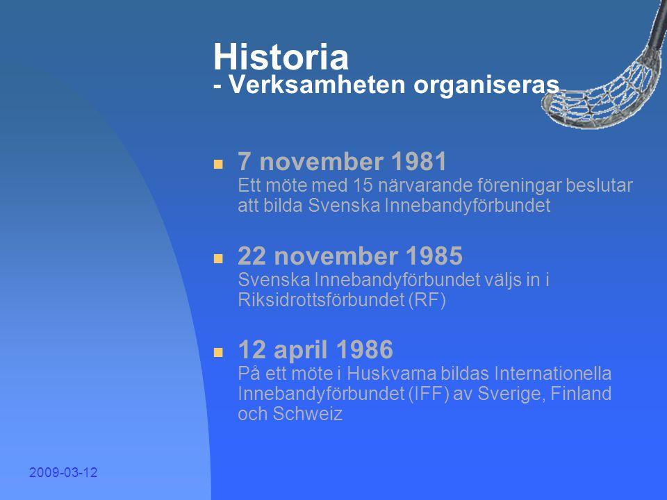 2009-03-12 Historia - Så började det  Slutet av 60-talet Ett kompisgäng i Göteborg börjar spela innebandy och importera klubbor  1971 Första svenska