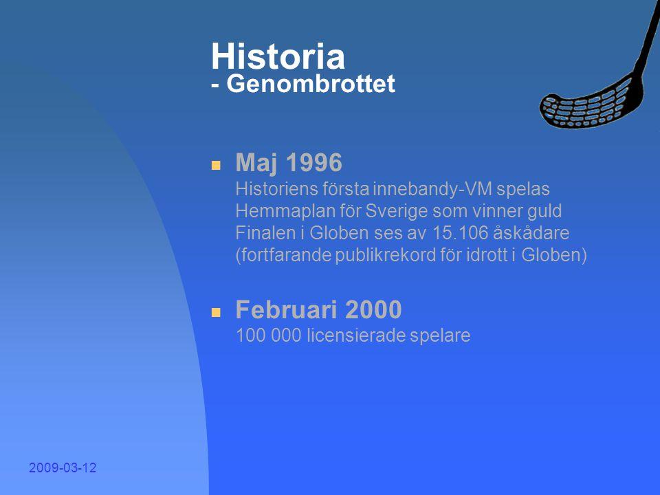 2009-03-12 Historia - Lavinartad tillväxt  Oktober 1989 Första nationella seriesystemet startar  Juni 1990 Antalet medlemsföreningar passerar 1.000