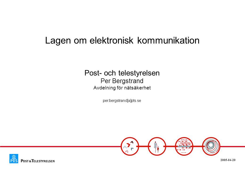 2005-04-20 Från 1880-talet Telegrafstyrelsen/Televerket I samband med avregleringen av den svenska telemarknaden bildades Post- och telestyrelsen och ett nytt regelverk i form av Telelagen • Televerket en statlig myndighet • Uppgift att bedriva telerörelse och därmed sammanhängande verksamhet • Möjligt att styra för staten genom ägardirektiv, t.