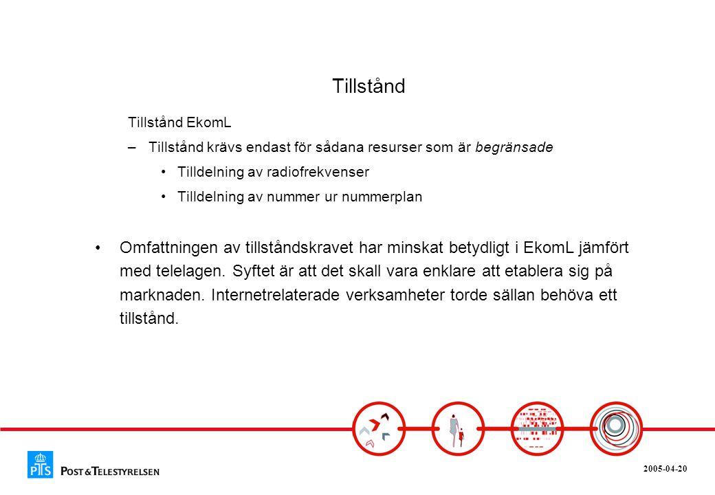 2005-04-20 Tillstånd Tillstånd EkomL –Tillstånd krävs endast för sådana resurser som är begränsade •Tilldelning av radiofrekvenser •Tilldelning av num