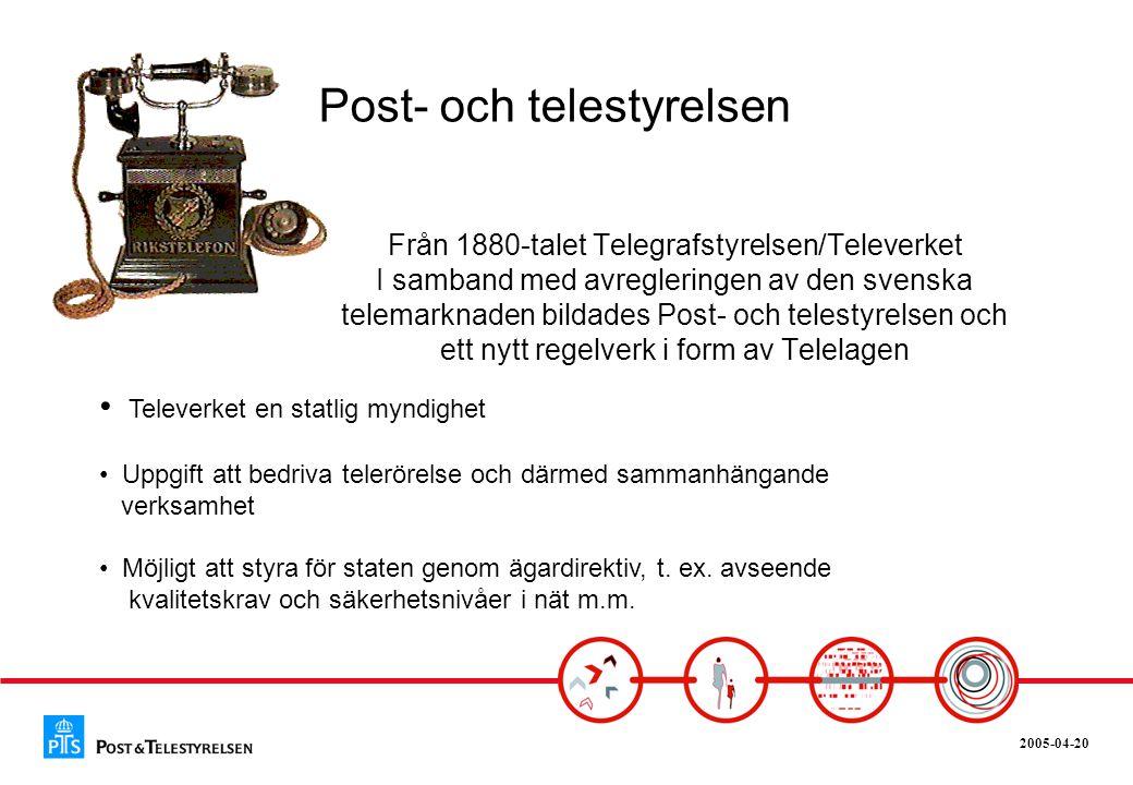 2005-04-20 Från 1880-talet Telegrafstyrelsen/Televerket I samband med avregleringen av den svenska telemarknaden bildades Post- och telestyrelsen och