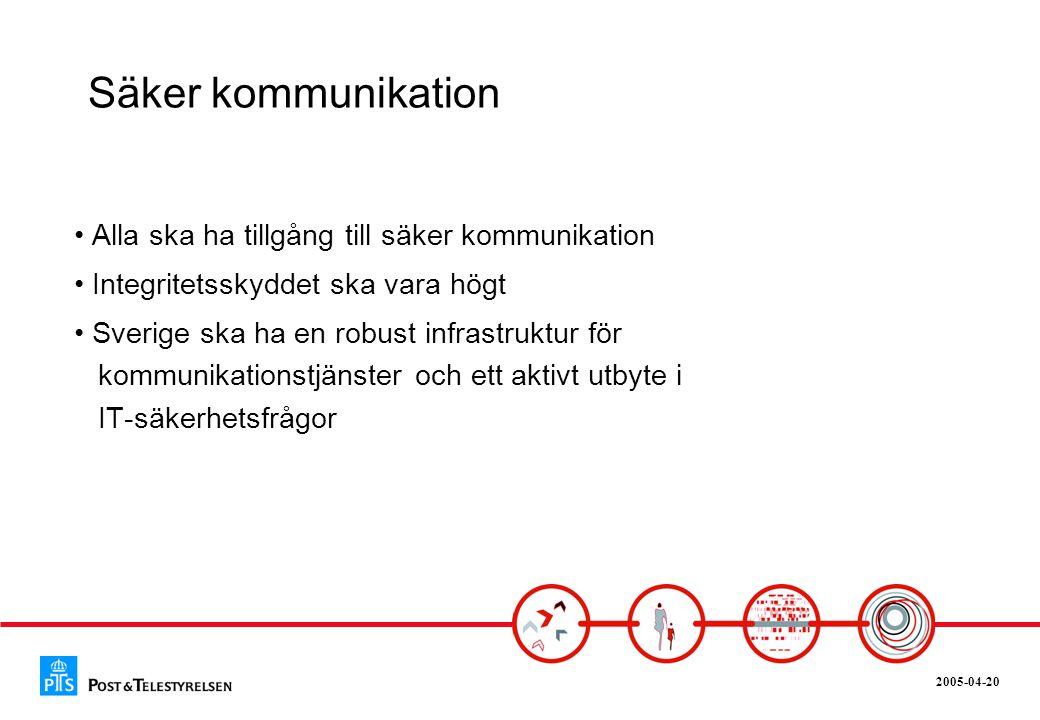 2005-04-20 Säker kommunikation • Alla ska ha tillgång till säker kommunikation • Integritetsskyddet ska vara högt • Sverige ska ha en robust infrastru