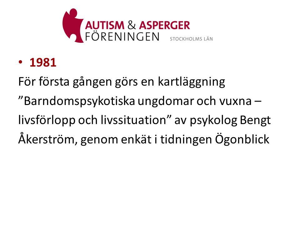 • 1983 En inventering av hur många psykotiska barn det fanns i Stockholmsregionen påbörjades.