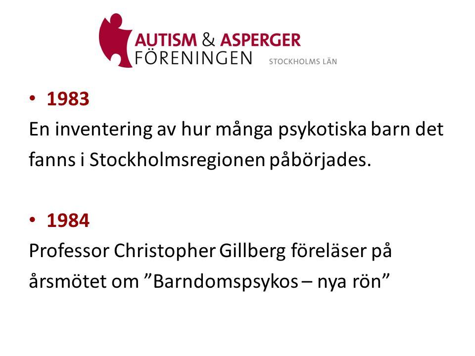 • 1985 Radiohjälpskampanjen för psykotiska barn En framtid för barn med autism fick stor genomslagskraft i media.