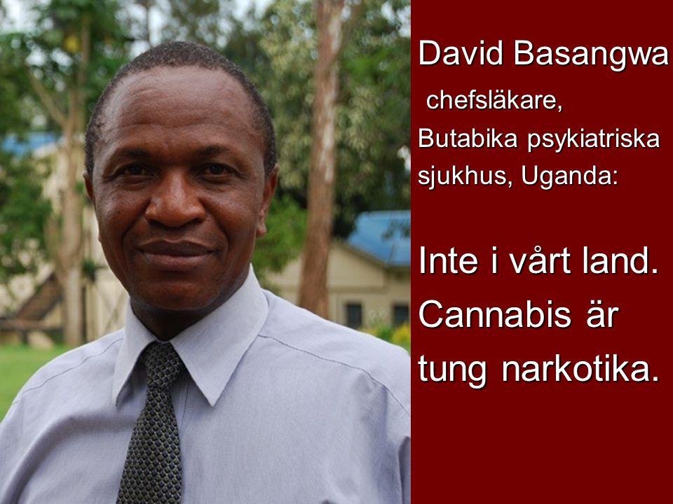 David Basangwa chefsläkare, chefsläkare, Butabika psykiatriska sjukhus, Uganda: Inte i vårt land. Cannabis är tung narkotika.