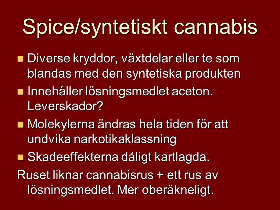 Spice/syntetiskt cannabis  Diverse kryddor, växtdelar eller te som blandas med den syntetiska produkten  Innehåller lösningsmedlet aceton. Leverskad