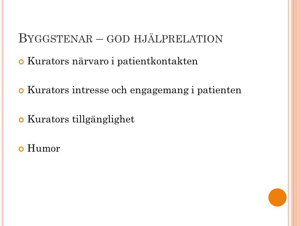 B YGGSTENAR – GOD HJÄLPRELATION Kurators närvaro i patientkontakten Kurators intresse och engagemang i patienten Kurators tillgänglighet Humor